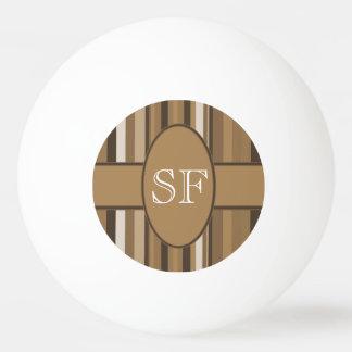 Brown Beige Stripe Monogram Ping Pong Ball