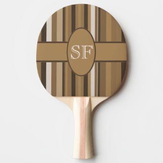 Brown Beige Stripe Monogram Ping Pong Paddle