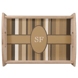 Brown Beige Stripe Monogram Serving Tray