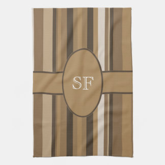 Brown Beige Stripe Monogram Tea Towel