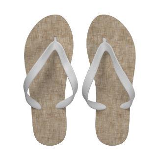Brown Beige Summer Wicker Flip-Flops