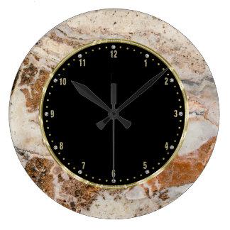 Brown & Beige Texture Print Large Clock