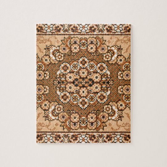 brown beige white oriental rug pattern vintage jigsaw puzzle