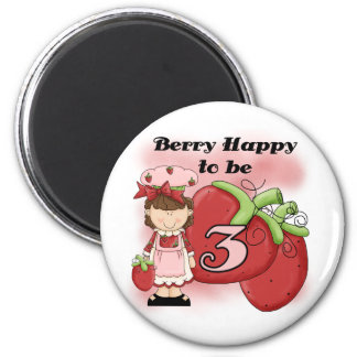 Brown Berry 3rd Birthday T-shirts and Gifts 6 Cm Round Magnet