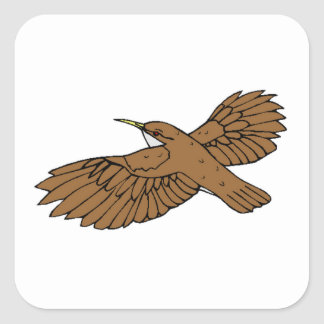 Brown Bird Flying Square Stickers