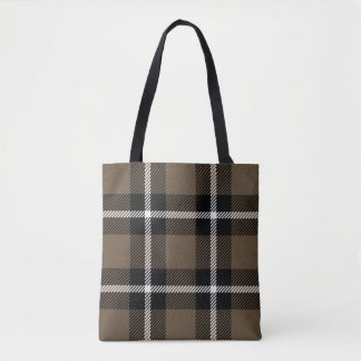 Brown, Black and Cream Plaid Tote Bag