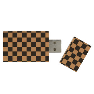 Brown black checkers wood USB 2.0 flash drive