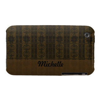 Brown Black Damask pattern iPhone 3 Covers
