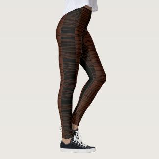 Brown Black Geometrical Maze Vertical Pattern Leggings