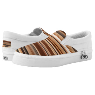 Brown/Black/Gray/White Striped Pattern Slip On Shoes