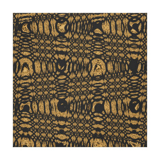 Brown Black Leopard Modern Abstract Wave Circle Gallery Wrapped Canvas