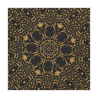 Brown Black Leopard Print Modern Circle Weave Gallery Wrapped Canvas