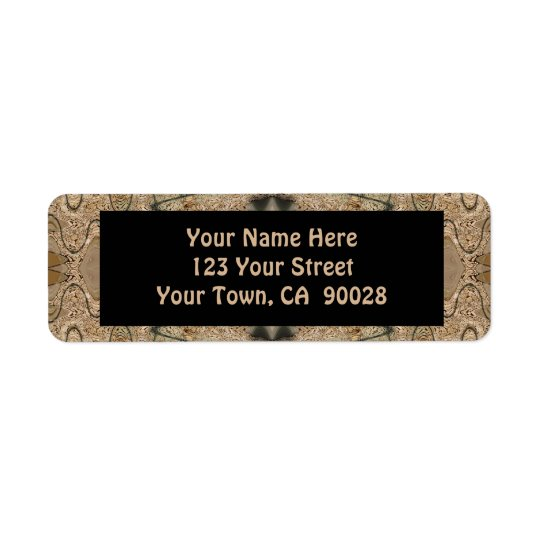 brown black pattern return address label