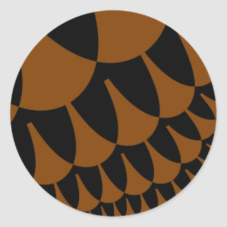 Brown Black Scales Large Round Stickers