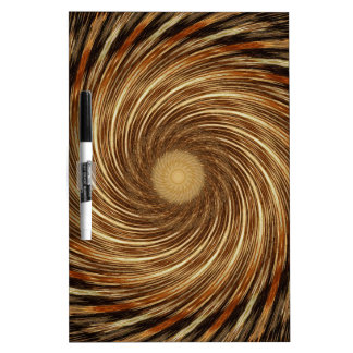 Brown Black Spiral Wave Kaleidoscope Art Dry Erase Board