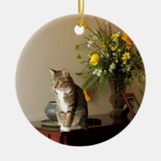Brown black Tabby cat Sitting on piano flowers Ceramic Ornament