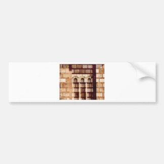 brown block window bumper sticker