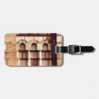 brown block window luggage tag