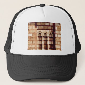 brown block window trucker hat