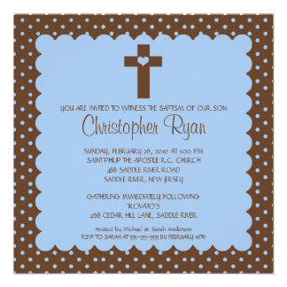 Brown Blue Baby Boy Baptism Inviation Announcements