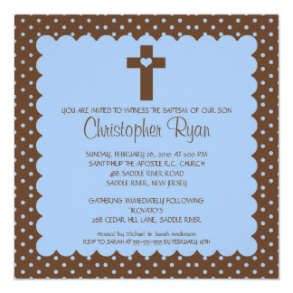 Brown & Blue Baby Boy Baptism Inviation Announcements