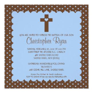 Brown & Blue Baby Boy Baptism Inviation Announcements