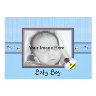 Brown & Blue Baby Boy Birth Announcement
