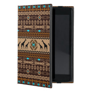 Brown Blue & Beige African Pattern & Giraffe iPad Mini Cover