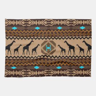 Brown Blue & Beige African Pattern & Giraffe Tea Towel