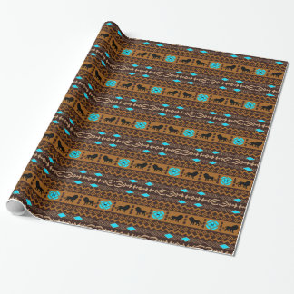 Brown Blue & Beige African Pattern & Lions Wrapping Paper