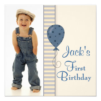 Brown Blue Boys Photo Birthday Party 13 Cm X 13 Cm Square Invitation Card