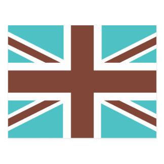 Brown Blue Classic Union Jack British(UK) Flag Postcard