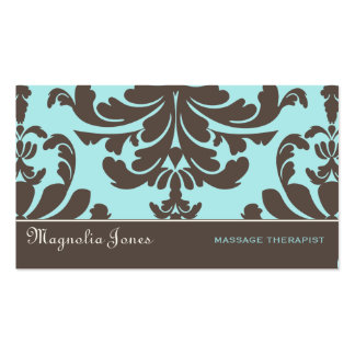Brown Blue Damask Brocade Professional Style Business Cards