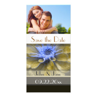 """Brown/Blue Floral  /photo  """"Save the Date"""" Photo Card Template"""