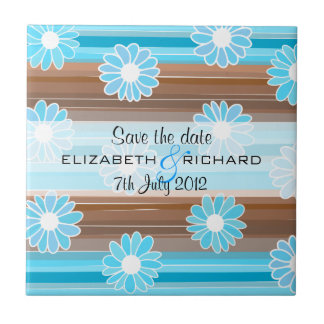 Brown blue flowers stripes Save the date Tile