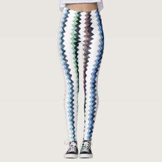 Brown Blue Green Black Zigs - vertical Leggings