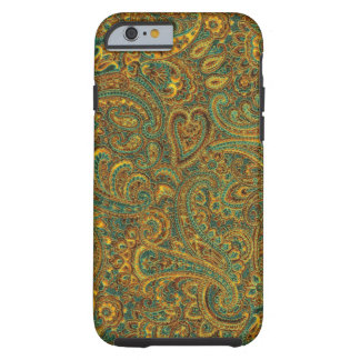 Brown& Blue Ornate Floral Paisley Pattern Tough iPhone 6 Case