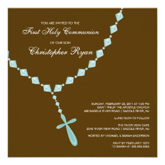Brown Blue Rosary First Holy Communion Invitation