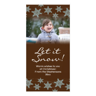 Brown/Blue Snowflake Holiday Winter Winds Photo Card Template