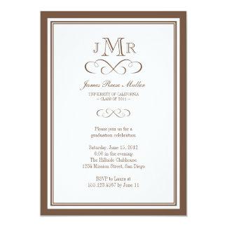 Brown border frame classy monogram graduation 5x7 paper invitation card