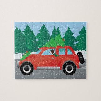 Brown Boston Terrier Driving a Christmas Car Jigsaw Puzzle