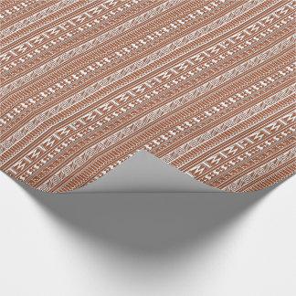 Brown Brick Geometric Aztec Tribal Print Pattern Wrapping Paper