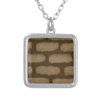Brown Bricks Pattern Silver Plated Necklace