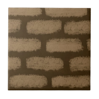 Brown Bricks Pattern Small Square Tile
