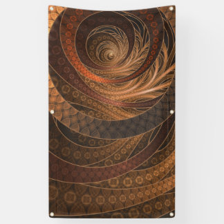 Brown, Bronze, Wicker, and Rattan Fractal Circles Banner