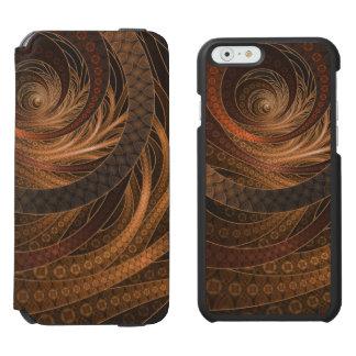 Brown, Bronze, Wicker, and Rattan Fractal Circles Incipio Watson™ iPhone 6 Wallet Case