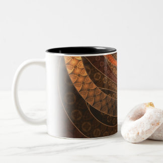 Brown, Bronze, Wicker, and Rattan Fractal Circles Two-Tone Coffee Mug