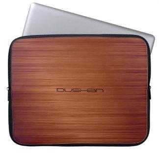 Brown Brushed Metal Pattern-Customizable Monogram Laptop Sleeve