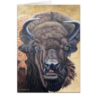 Brown Buffalo Eating Card