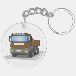brown building sites truck Double-Sided round acrylic key ring